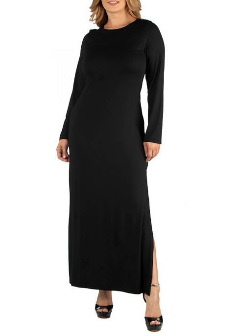 Plus Size Form Fitting Long Sleeve Side Slit Maxi Dress