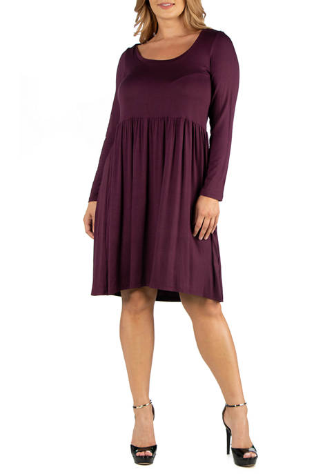 24seven Comfort Apparel Plus Size Knee Length Pleated