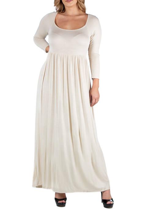 Plus Size Long Sleeve Pleated Maxi Dress