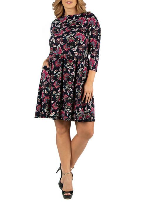 24seven Comfort Apparel Plus Size Floral Print Fit