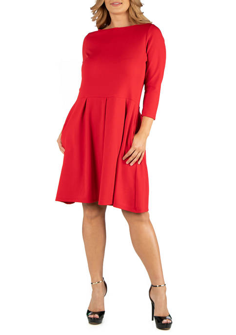 Plus Size Knee Length Fit and Flare Dress with Pockets