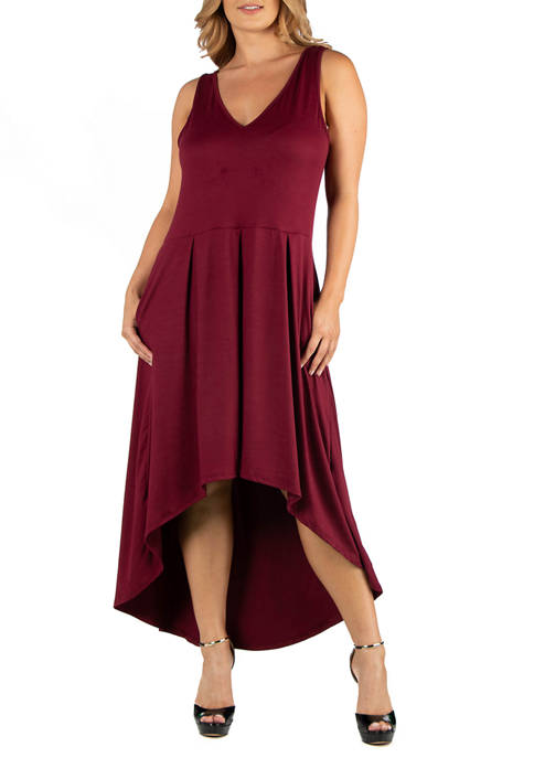 Plus Size Sleeveless Fit and Flare High Low Dress