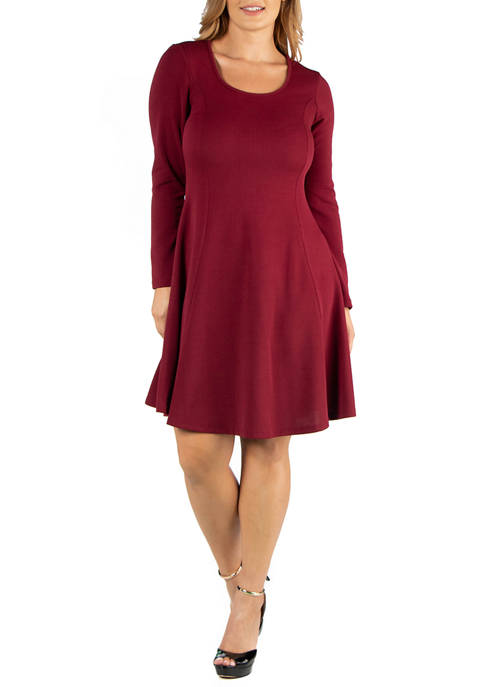 Plus Size Simple Long Sleeve Knee Length Flared Dress