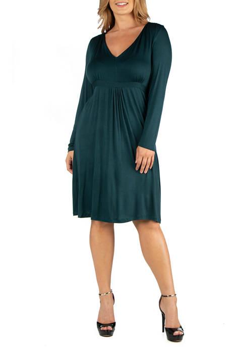 Plus Size V-Neck Long Sleeve Professional Dress