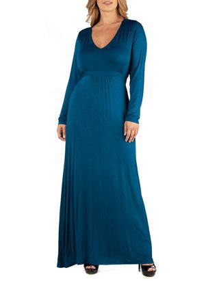 Plus Size Semi Formal Long Sleeve Maxi Dress