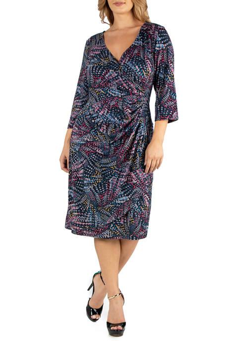 Plus Size Knee Length Faux Wrap Dress