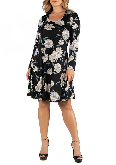 Plus Size Floral Print Long Sleeve Flared T-Shirt Dress