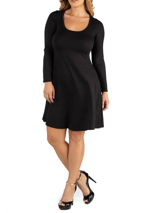 24seven Comfort Apparel Plus Size Long Sleeve Flared