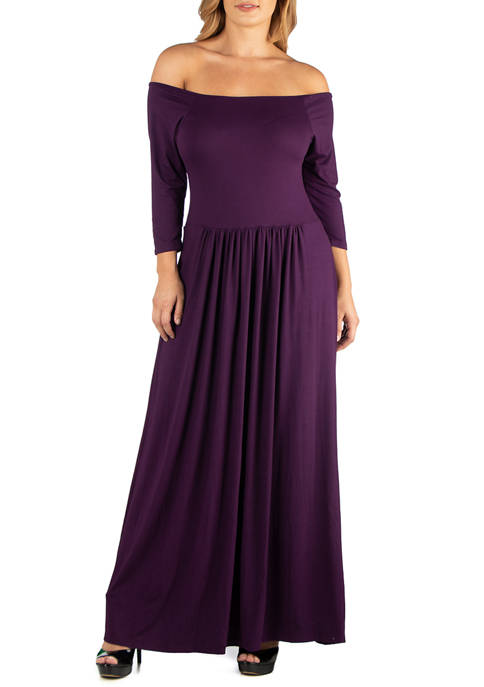 Plus Size Off the Shoulder Pleated Waist Maxi Dress