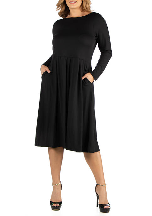 Plus Size Midi Length Fit and Flare Pocket Dress