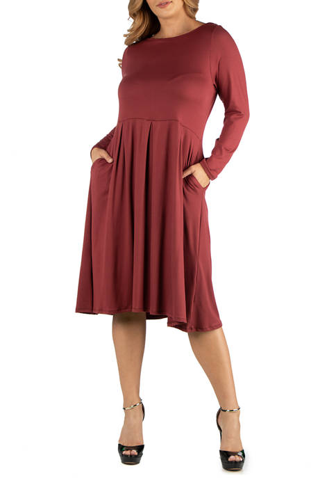 24seven Comfort Apparel Plus Size Midi Length Fit