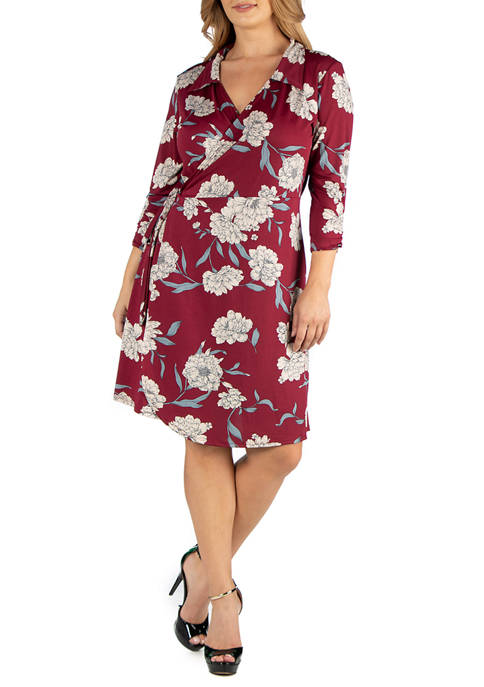 24seven Comfort Apparel Plus Size Collared Burgundy Floral