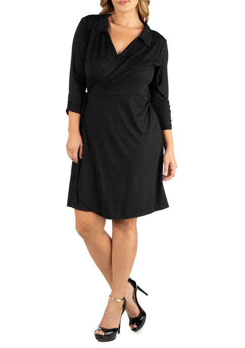 Plus Size Knee Length Collared Wrap Dress