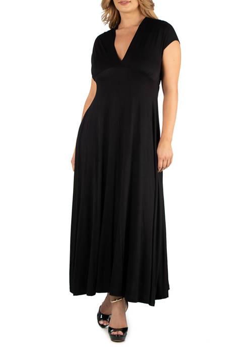 Plus Size Empire Waist V-Neck Maxi Dress