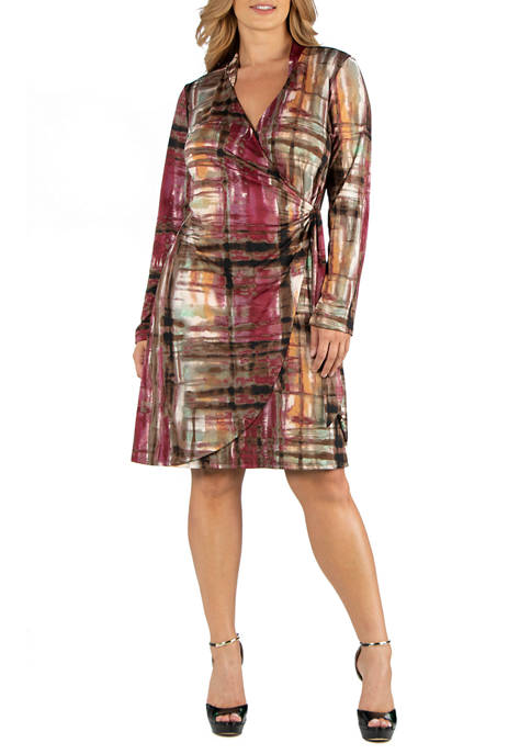 24seven Comfort Apparel Plus Size Plaid Print Knee