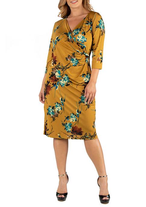 Plus Size Print 3/4 Sleeve Wrap Dress
