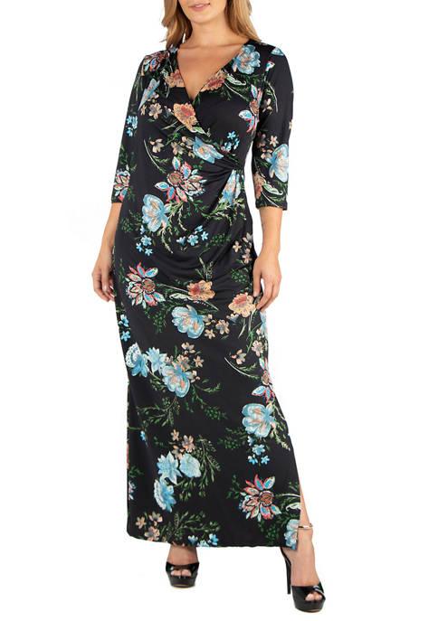 24seven Comfort Apparel Plus Size Floral V-Neck Side
