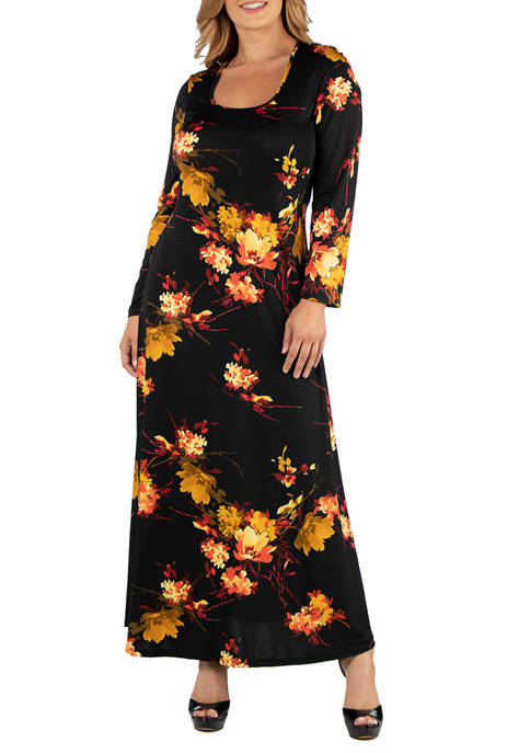 Plus Size Fall Floral Long Sleeve Maxi Dress