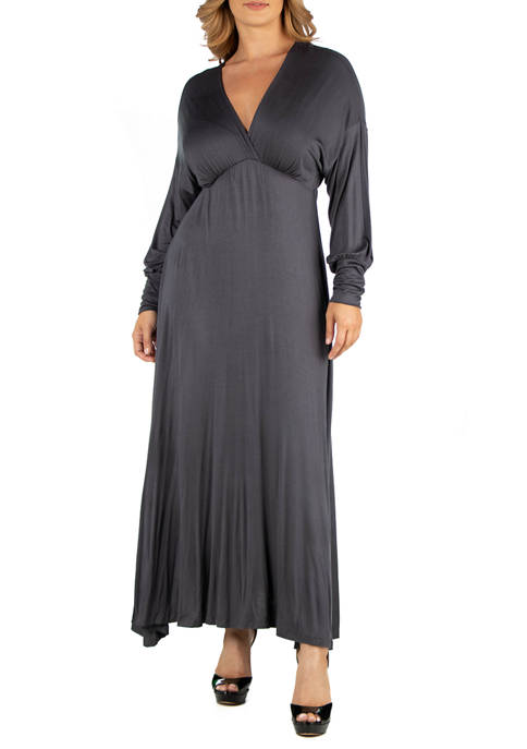 Plus Size Formal Long Sleeve Maxi Dress