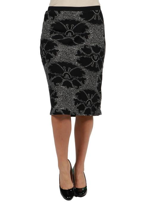 24seven Comfort Apparel Plus Size Floral Frint Black