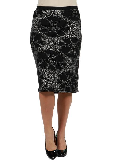 24seven Comfort Apparel Plus Size Print Pencil Skirt