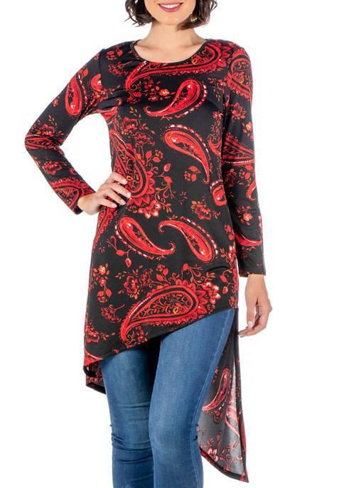 24seven Comfort Apparel Womens Print Long Sleeve Asymmetric