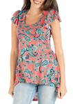 Womens Coral Paisley Tunic Top