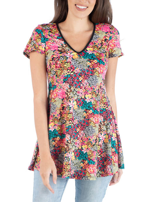 24seven Comfort Apparel Womens Floral Flared Tunic Top