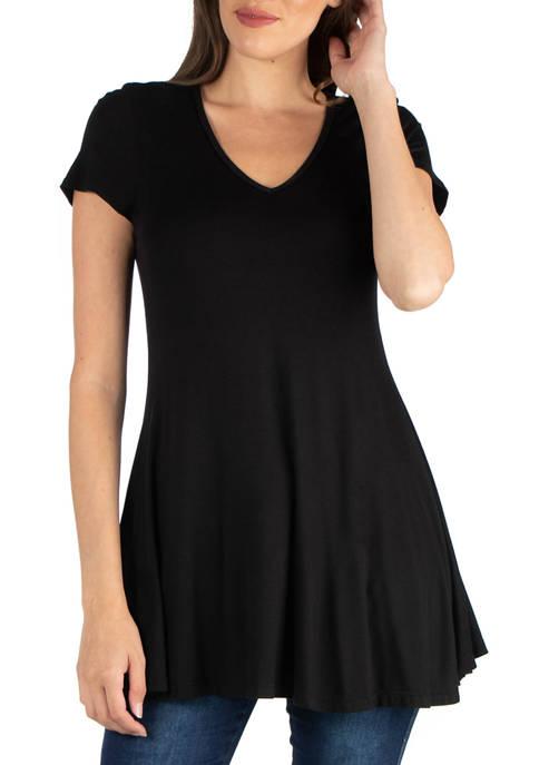 24seven Comfort Apparel Womens Short Sleeve Tunic Top