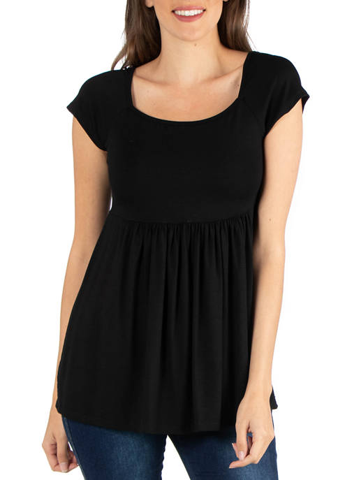24seven Comfort Apparel Womens Cap Sleeve Tunic Top