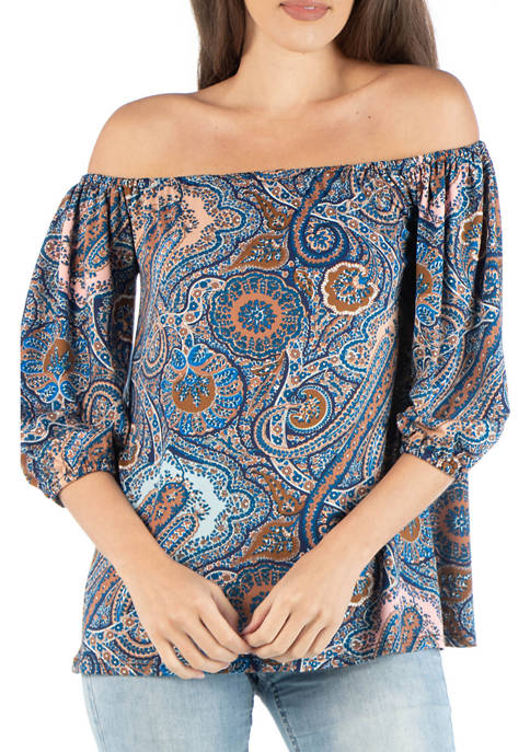 Womens Off the Shoulder Paisley Top