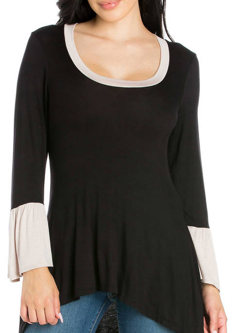 24seven Comfort Apparel Womens Bell Sleeve High Low