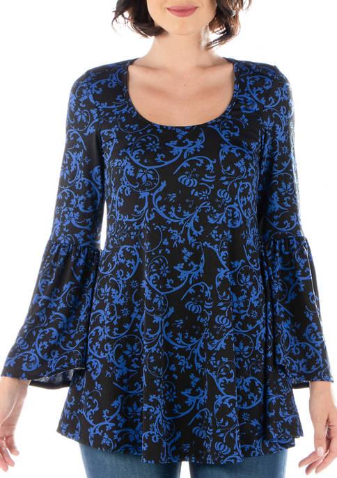 24seven Comfort Apparel Womens Floral Print Bell Sleeve