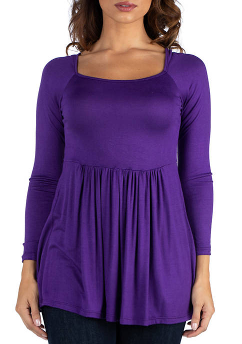 24seven Comfort Apparel Womens Wide Neck Pleated Long
