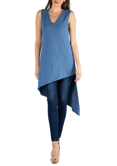 24seven Comfort Apparel Womens Long Sleeveless Tunic Top