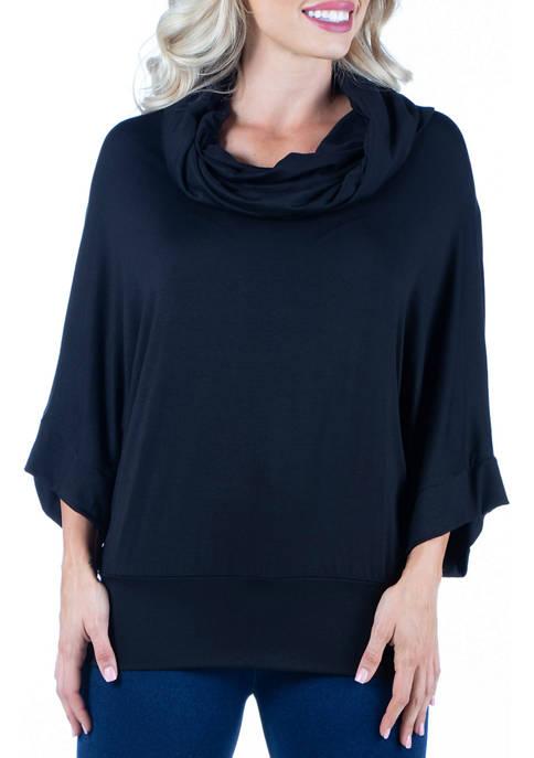 24seven Comfort Apparel Womens Oversized Cowl Neck Tunic