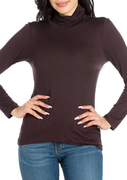 24seven Comfort Apparel Womens Classic Long Sleeve Turtleneck