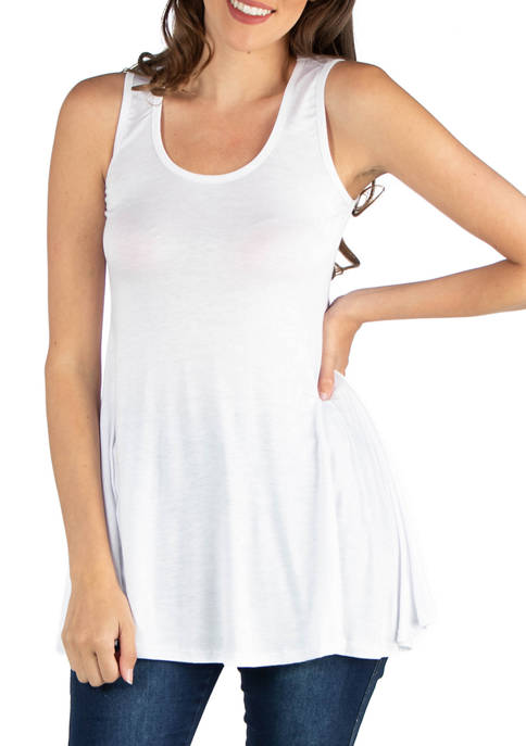 24seven Comfort Apparel Womens Scoop Neck Sleeveless Tunic
