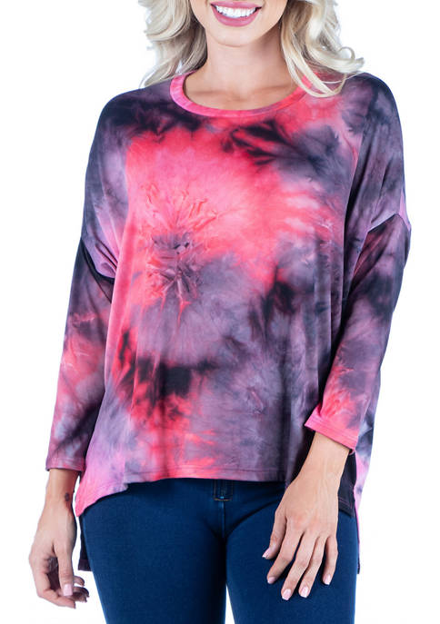 24seven Comfort Apparel Womens Oversized Tie Dye Long