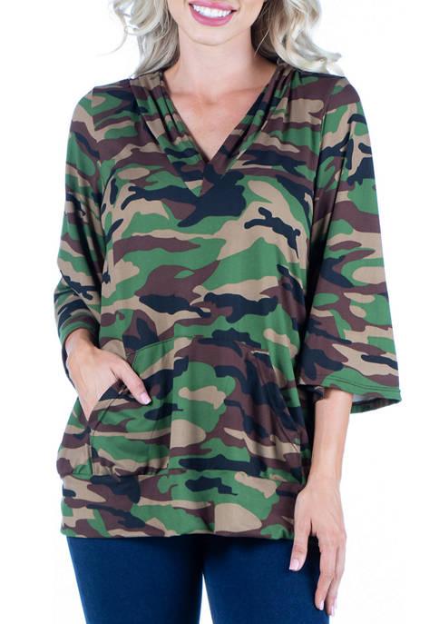 24seven Comfort Apparel Womens Camo Print Oversized Pocket