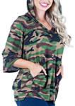 Womens Camo Print Oversized Pocket Hoodie Top