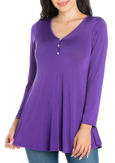 Womens Flared Long Sleeve Henley Tunic Top