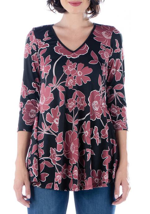 24seven Comfort Apparel Womens Floral Print V Neck