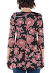 Womens Floral Print V Neck Flared Tunic Top