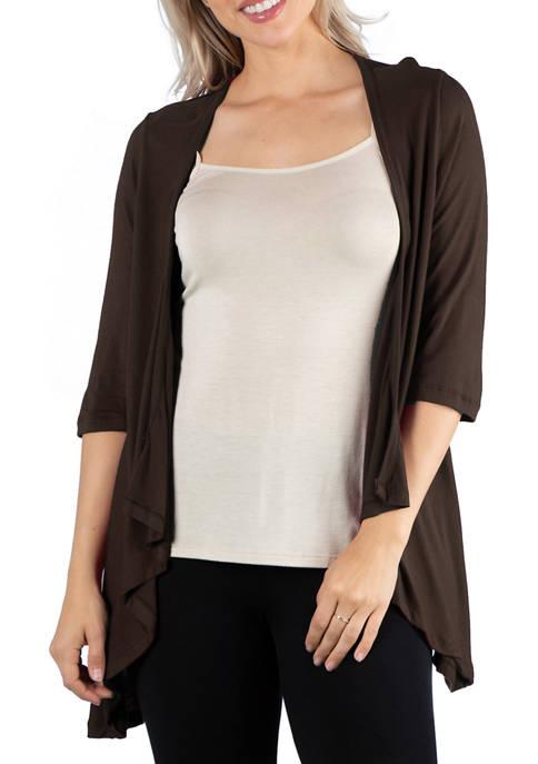 Womens Elbow Length Sleeve Open Cardigan