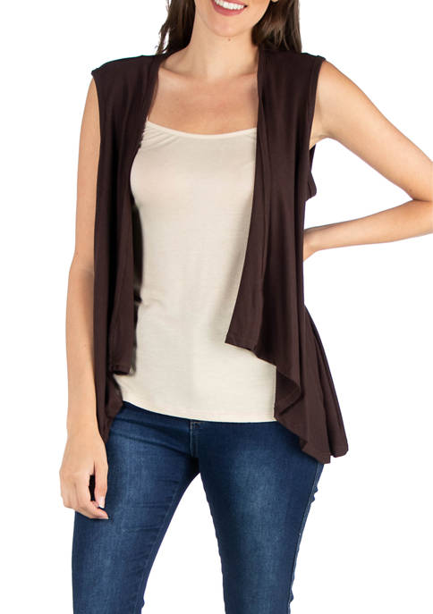 24seven Comfort Apparel Womens High Low Cardigan Vest