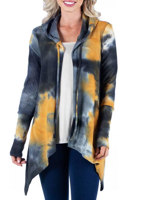 Womens Tie Dye Print Cardigan Hoodie