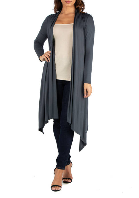 Womens Extra Long Open Front Cardigan