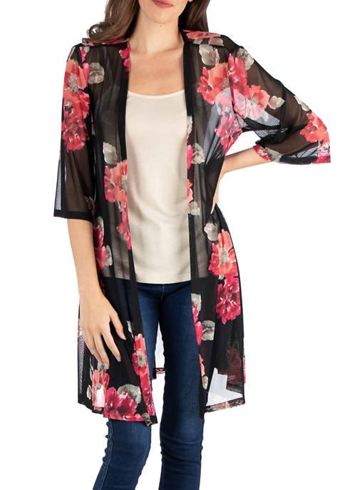 24seven Comfort Apparel Floral Kimono Cardigan
