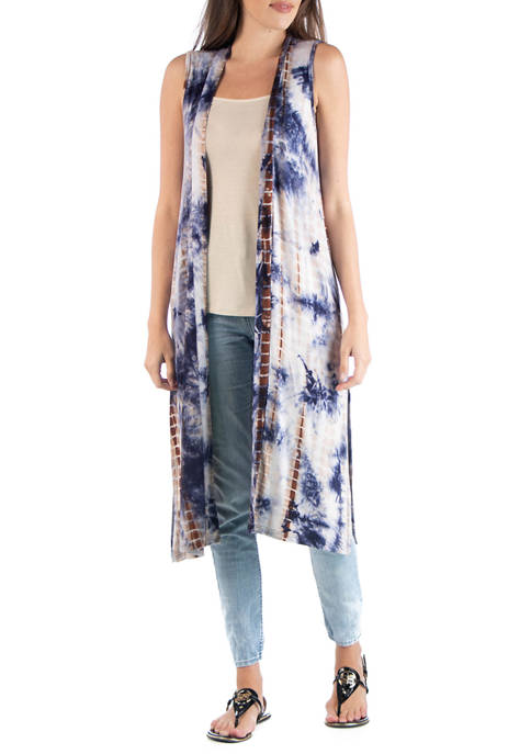 Womens Tie Dye Sleeveless Cardigan